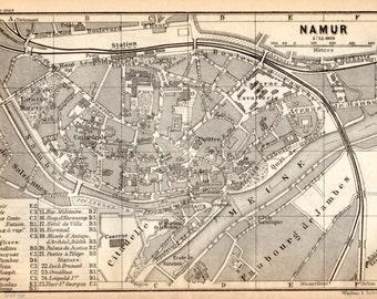 1897 Namur, Belgium, Antique Map, Vintage Lithograph, Namen stad, België, Ostende, Belgique, Wallonia, Wallonie, Nameur