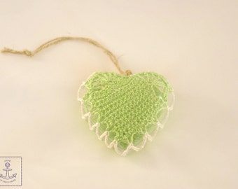 Christmas tree decoration crochet Home rustic Christmas toy Lace Heart green
