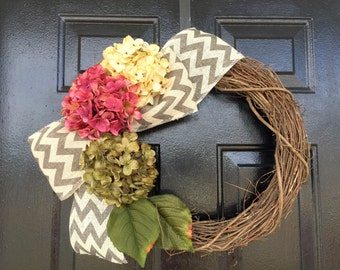 pink and green hydrangea wreath spring wreath wreath for door spring decor