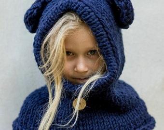 Warm Crochet Hooded Cowl, Scarf, Crochet Bear Hood