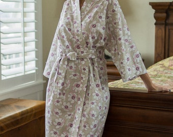 Womens Robe Long Kimono with pockets Dressing gown Bathrobe Maternity robe Hospital gown Plus size Floral cotton robe Cherie Gray