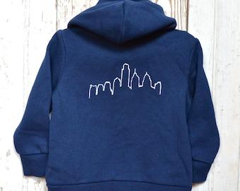 Navy Blue Baby Philadelphia Skyline Hooded Sweatshirt Philly Organic Cotton Zip Up Hoodie