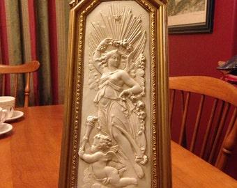 Beautiful Romanesque Antique White and Gold Plaque