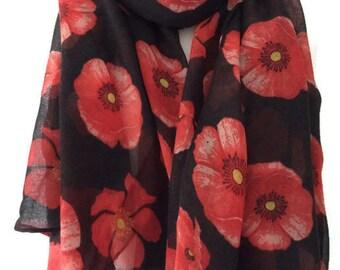 Black Scarf Red Poppy Print, Poppies Floral Wrap, Ladies Flowers Pattern Shawl