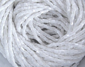 Hank 10/0 2 Cut White Opaque Luster - Czech Hex Glass Seed Beads - 2.1 mm.