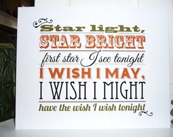 Star Light Star Bright nursery rhyme typographic art print