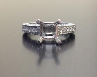 Platinum Engagement Ring - Diamond Wedding Ring - Art Deco Platinum Ring - Hand Engraved Platinum Ring - Diamond Ring - Platinum Mounting
