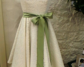 Tea length lace wedding dress with coloured sash- other colours available.
