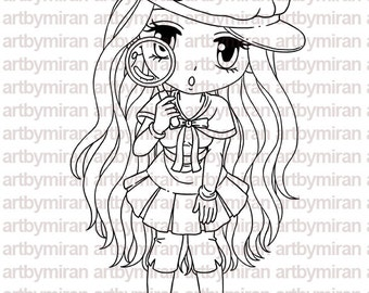 Digital Stamp - A Closer Look(#183), Digi Stamp, Coloring page, Printable Line art for Card and Craft Supply