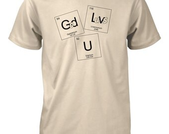 AproJes God Loves U Chemistry Periodic Table Elements Nerd Geek College Christian Tshirt