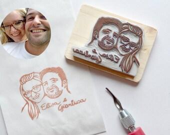 Custom rubber portrait stamp - couple - gift idea - wedding stationery
