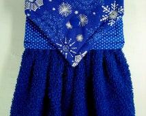 Christmas Hanging Hand Towel, Snowflake Hand Towel, Christmas Hand Towel, Blue Xmas Hand Towel, Kitchen Gift, Christmas Kitchen Towel