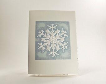 Rocky Mountain Snowflake Holiday Card. Christmas card. Embossed. Letterpress. Single card. Blank or Season's Greetings inside.