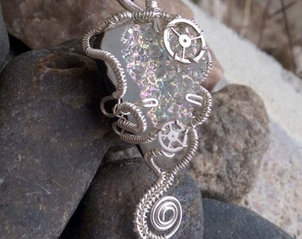 Steampunk wire wrapped Stone