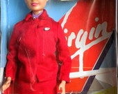 superb vintage sindy doll - virgin atlantic cabin crew - mint boxed unopened - bikini luggage shoes! perfect blonde red beauty! : D