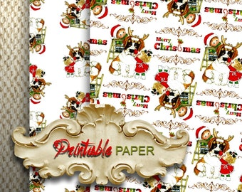 CHRISTMAS DOG - 2 SHEETs Printable wrapping paper for Scrapbooking, Creat - Download and Print