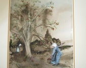 Watercolor painting of Amish Ladies harvesting Red Delicious Apples! - monochromatic painting - Amish painting - sepia art