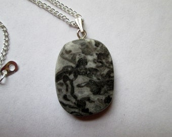 Gray and Black Marbled Jasper Necklace