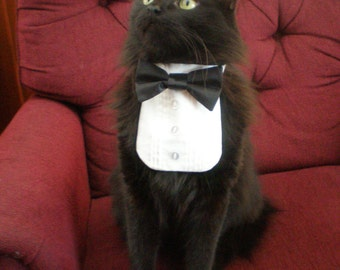 Tuxedo Shirt and Satin Bow Tie on Collar Any Small Pet Neck Sizes 8 - 15.5 Inch Kitten Cat Small Dog Breeds