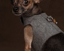Dog harness FROM FELT grey for small dogs
