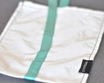 Large white reusable bag in durable ripstop nylon & turquoise satin ribbon