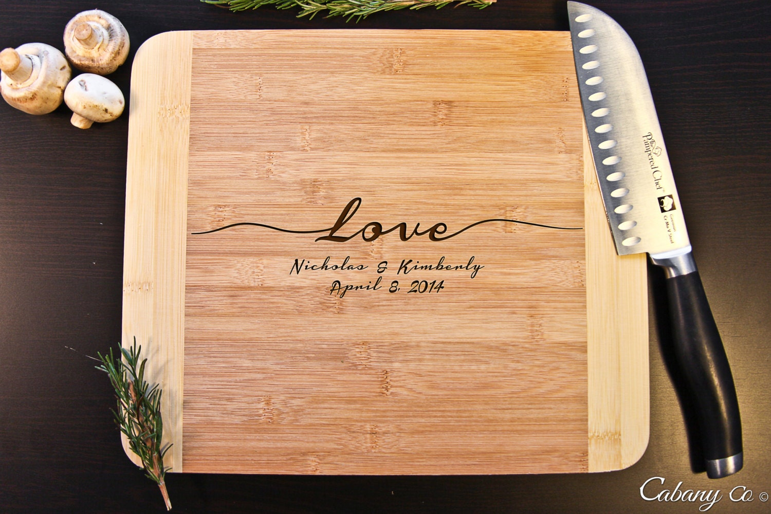 Personalized Cutting Board Bamboo Engraved Love By Cabanyco