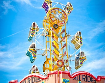 Carnival Rides Photo, Zipper Carnival Photography, Vintage Art, Ocean City, Maryland, Whimsical Art Print, Blue and Yellow Nursery Art