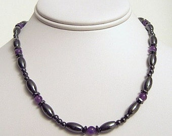 Amethyst Hex And Rice Handcrafted Magnetite Necklace