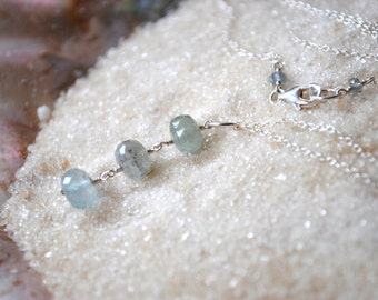 Moss Aquamarine Necklace - Minimalist Sterling Silver Necklace - Handmade Wire Wrapped Gemstone Jewelry