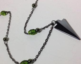 Green Arrow Pendant Necklace Oliver Queen Inspired Hematite Arrowhead Green Bead Justice League Hero DC Comic Superhero Nerd Geek Jewelry
