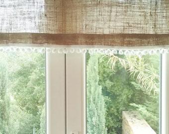 "Burlap Curtain -Burlap Drape - Burlap Cafe Curtain with fringe - Burlap Valance - Burlap Kitchen Drape - Rustic Curtain 53"" x 24"""