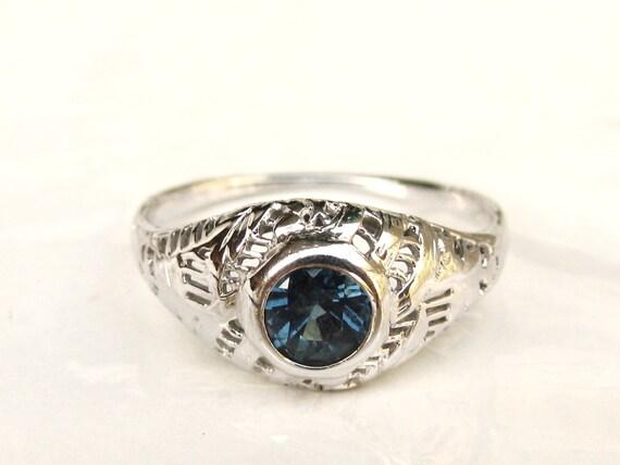 antique blue topaz engagement ring 18k by ladyrosevintagejewel