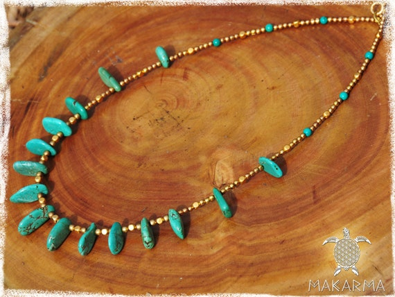 Pocahontas BohoChic Necklace Brass Tibetian Turquoise Necklace