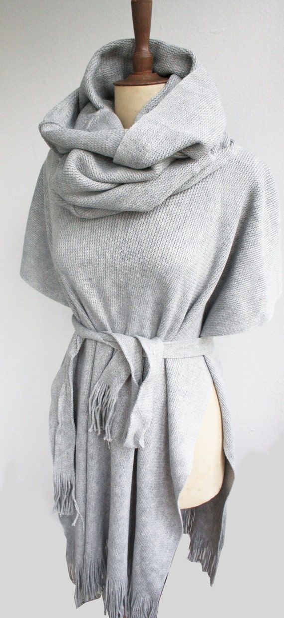 Items similar to gray hooded poncho best selling poncho for Selling shirts on etsy