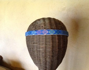 "Beaded headband with tan pigskin backing - ""Blue Band"""