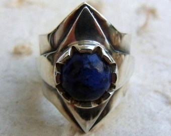 Mens ring with stone, Blue stone ring, Man statement ring, Men silver ring, Men ring with gem stone, Male ring, Big men ring, Energy ring