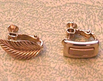 Two vintage Napier screw-back gold tone earrings lead rectangle