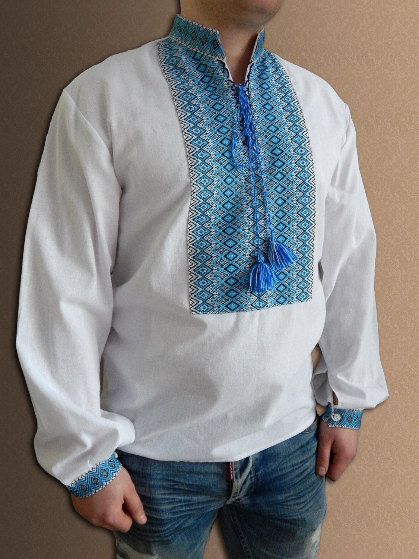 Ukrainian shirt embroidered for men linen or