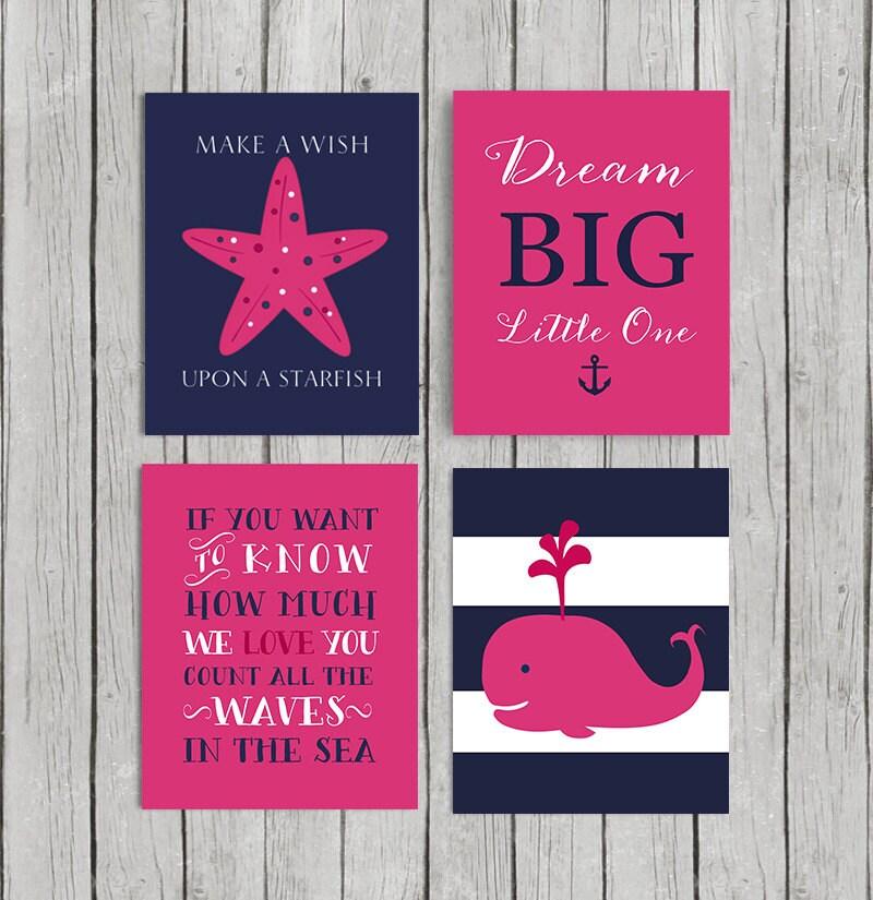 50 off hot pink nursery decor baby girl nautical nursery. Black Bedroom Furniture Sets. Home Design Ideas