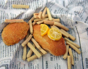 MADE TO ORDER 1:6 Scale Fish and Chips, Barbie Food, Monster High Food