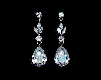 Cubic Zirconia Wedding Earrings - Dangle Earrings - Drop Earrings - CZ Earrings - Teardrop Earrings - Floral Earrings - Bridesmaids - AE0073
