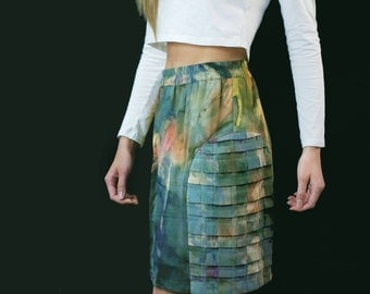 Armor Pleat Mini Skirt in Watercolor Silk - Size Small