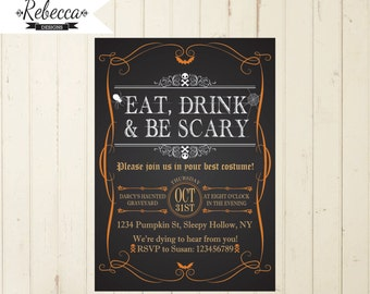 halloween invitation printable halloween invite chalkboard halloween orange and black invitation halloween dinner eat drink and be scary 133