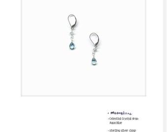 Yves Drop_13: Moonstone and Aqua Blue Crystal Earrings; hand-made