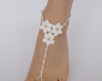 Barefoot sandals,Beach wedding shoes,White Crochet Barefoot Sandals,Foot jewelry,Wedding Accessories,Bridal jewelry,Bridesmaid Gift,Anklet