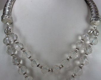 Clearance sale, Natural Crystal Beaded Necklace, 430 ct. Beaded Necklace, Sale 2015, Year End Sale, Antique Silver Necklace