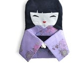Bag Doll Japanese, collecting doll in Lilac Kimono with Flowers of Chrysanthemus,