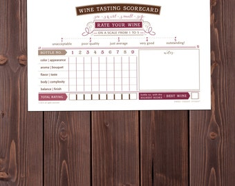 WINE tasting scorecard PRINTABLE custom name