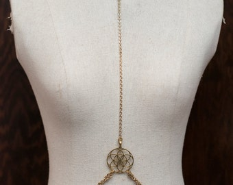 Gold Flower of Life, Sacred Geometry Choker Body Chain. HC0016