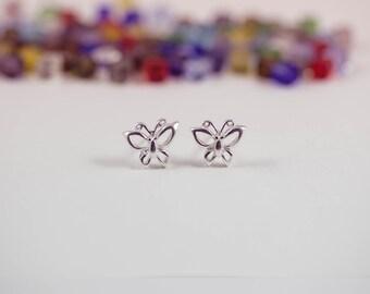 Silver Butterfly Ear Studs, Butterfly Jewelry, Butterfly Earrings, Butterflies earrings, Sterling Silver Butterfly Earrings, Butterfly studs